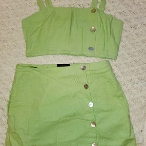 Lime green crop top skirt set